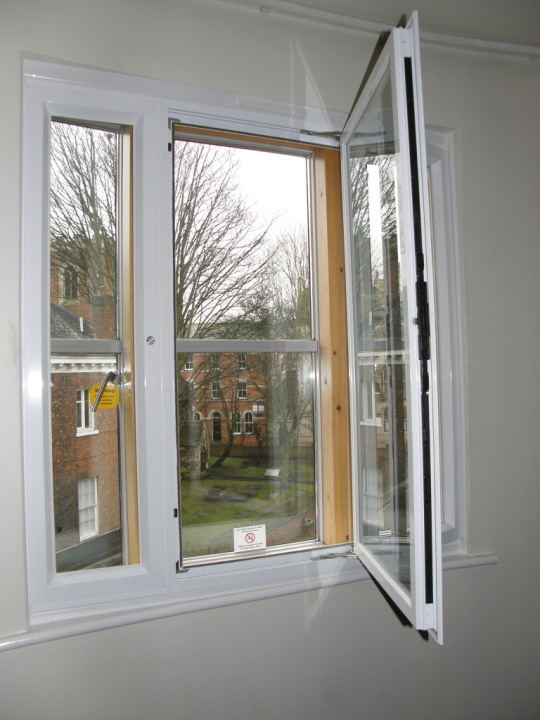 secondary glazing hinged unit for easy cleaning and access