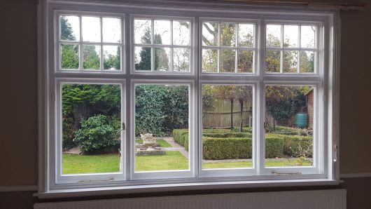 secondary double glazing fitted in a contemporary bay setting